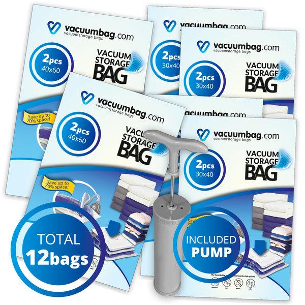 Vacuumbag.com Backpacker Vacuumzakken Pakket [Set 12 zakken+pomp]