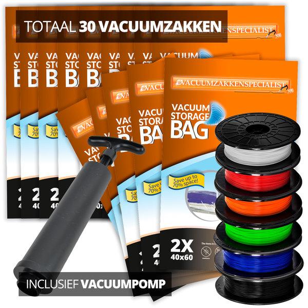 Pro Filament Vacuumzakken Pakket XL [Set 30 Vacuumzakken + handpomp]