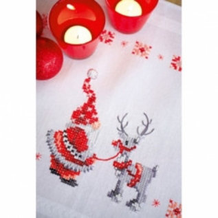 Vervaco Bedrukt tafelkleed met ingeweven boord : Kerstkabouters