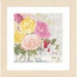 Lanarte Kruisjessteekpakket met telpatroon van Lanarte, Home & Garden, Pastelbloemen in een vaas