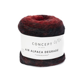 Katia Air Alpaca Degradé 69 Rood-Zwart