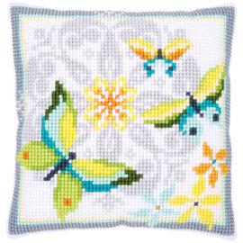 Vervaco Kruissteekkussen Vlinders met bloemen