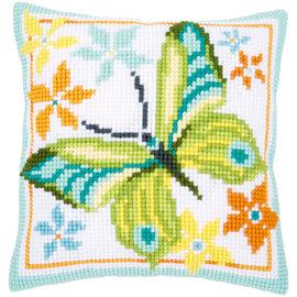 Vervaco Kruissteekkussen Groene vlinder