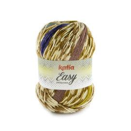 Katia Easy Jacquard 102 Camel-Lila-Geelgroen