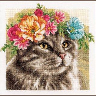 Lanarte Borduurpakket kat Maine Coon met bloemenkrans