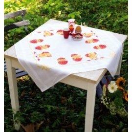 Vervaco Bedrukt tafelkleed met ingeweven boord : Paaskuikentjes