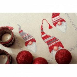 Vervaco Bedrukt tafelkleed met ingeweven boord : Kerstkaboutertjes