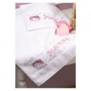 Handdoek Hello Kitty.Hello Kitty Set Van 2 Handdoeken 30 X 50 Cm Met Telpatroon