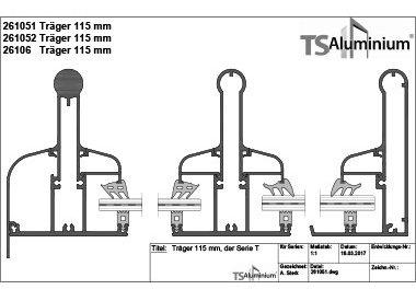Überdachung - Träger 115 Serie T