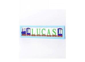 Little Letters Little Letters letterplankje 8 blokjes blauw/trein/groen