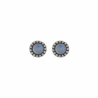 BIBA OORBELLEN Biba Oorstekers zilverkleurig met een tulpvormige geribbelde achterkant en een Swarovski steentje Air Blue Opal