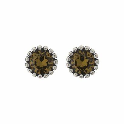 BIBA OORBELLEN Biba Ohrringe Silber mit einem tulpenförmigen Rippen zurück und einem Swarovski Stein Khaki