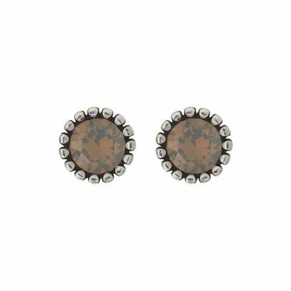 BIBA OORBELLEN Biba Oorstekers zilverkleurig met een tulpvormige geribbelde achterkant en een Swarovski steentje Light Grey Opal