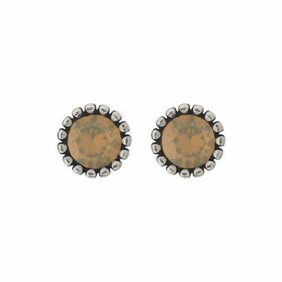 BIBA OORBELLEN Biba Oorstekers zilverkleurig met een tulpvormige geribbelde achterkant en een Swarovski steentje Sand Opal