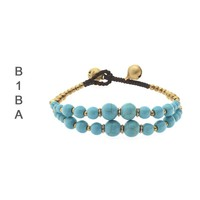 BIBA ARMBANDEN Biba knotted 2-row bracelet with Gemstone Gold Parties