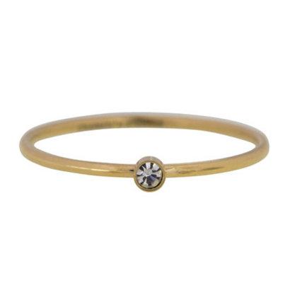 CHARMIN'S Charmins Shine Bright Stapel Stahlring R432 Gold Schaft Modeschmuck Marke Charmin ist.