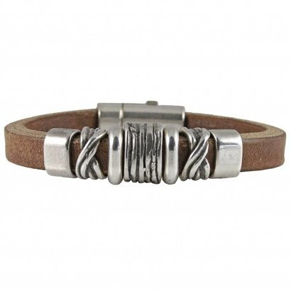 TERRA GENOVA TERRA GENOVA model STRONG brown leather bracelet with silver plated elements and closure.