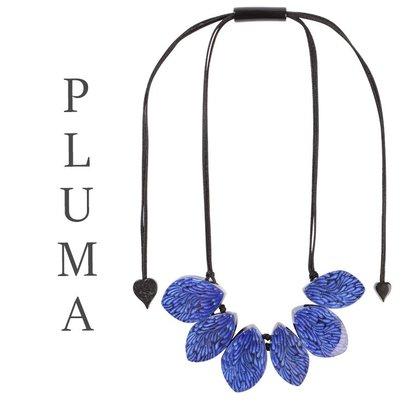 ZSISKA DESIGN Zsiska Design Necklace 6 BEADS PLUMA BLUE