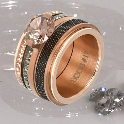 IXXXI JEWELRY RINGEN iXXXi INGEVULDE COMBINATIE RING ROSE 1013 RAW DOTS BROWN
