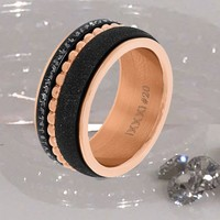 IXXXI JEWELRY RINGEN iXXXi COMBINATIE RING ROSE 1017 SANDBLASTED BLACK