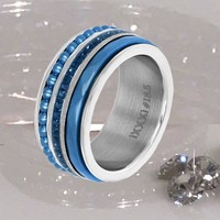 IXXXI JEWELRY RINGEN iXXXi COMBINATIE RING SILVER 1019 Bolletjes Blue