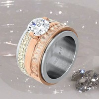 IXXXI JEWELRY RINGEN iXXXi COMBINATIE RING 12mm SILVER SNOW GLITTER 1023