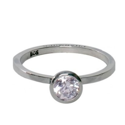 CHARMIN'S CR-131. Ring rond diamond met zirkonia steen crystal.
