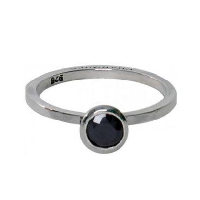 CHARMIN'S CR-132. Ring rond diamond met zirkonia steen jet.