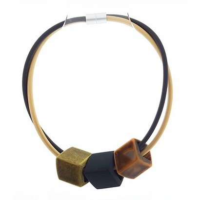 CUBE COLLECTION CUBE KETTING  Zwart Beige met 3 Cubes Messing- Zwart - Charcoal Brown