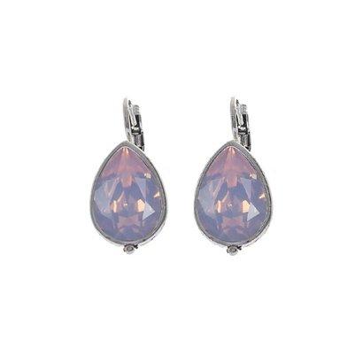 BIBA OORBELLEN Oorbel-8015.R.water. Zilverkleurige Druppelvormige Oorhangers met Swarovski Crystal Rosewater Opal.