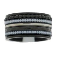 IXXXI JEWELRY RINGEN iXXXi COMBINATION RING 12mm BLACK WHITE STONES BLACK 1044
