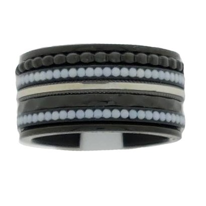 IXXXI JEWELRY RINGEN iXXXi COMBINATIE RING 12mm ZWART WHITE STONES BLACK 1044