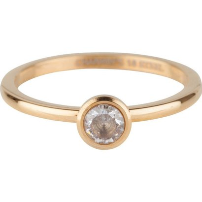 CHARMIN'S Charmins Shiny STYLISH Bright Steel stalen stapelring R489 Gold van het fashion sieradenmerk Charmin's.
