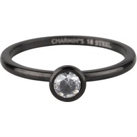 CHARMIN'S Charmins ring Shiny STYLISH Bright Steel Black Staal