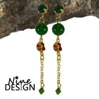 ND Rosa Gold Earrings Green.