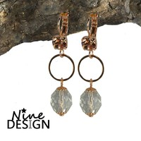ND-Oorhangers Ania Rosegold Crystal.