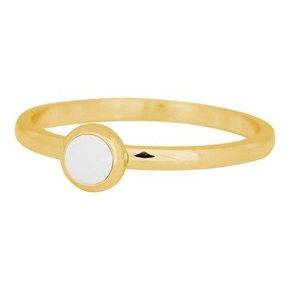 IXXXI JEWELRY RINGEN iXXXi Schmuck Fillet Ring 0,2 cm Stahl mit einer flachen Einstellung mit einem weißen Stein GOLD