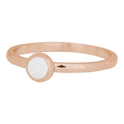 IXXXI JEWELRY RINGEN iXXXi Schmuck Fillet Ring 0,2 cm Stahl mit einer flachen Einstellung mit einem weißen Stein ROSEGOLD