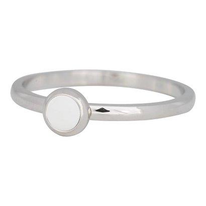 IXXXI JEWELRY RINGEN iXXXi Schmuck Fillet Ring 0,2 cm Stahl mit einer flachen Einstellung mit einem weißen Stein Silber