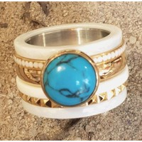 IXXXI JEWELRY RINGEN iXXXi COMBINATIE RING 14mm CERAMIC 1049 TURQUOISE STONE GOLD