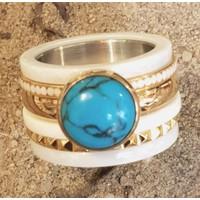IXXXI JEWELRY RINGEN iXXXi COMBINATION RING 14mm CERAMIC 1049 TURQUOISE STONE GOLD