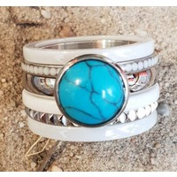 IXXXI JEWELRY RINGEN iXXXi COMBINATION RING 14mm CERAMIC 1050 TURQUOISE STONE SILVER
