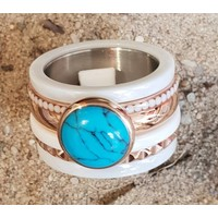 IXXXI JEWELRY RINGEN iXXXi COMBINATIE RING 14mm CERAMIC 1051 TURQUOISE STONE ROSEGOLD