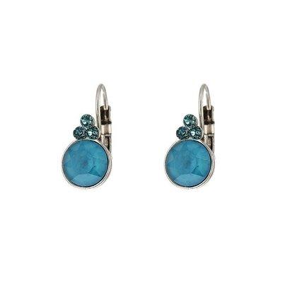 BIBA OORBELLEN Biba ronde oorhangers  Goud of Zilverkleurig met Azure Blue Swarovskisteen