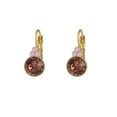 BIBA OORBELLEN Biba Runde Ohrringe Gold oder Silber mit Blush Rose Swarovskisteen