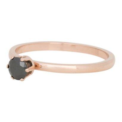 iXXXi JEWELRY iXXXi Schmuck Ring 2mm CROWN SCHWARZ DIAMOND Rosegold Edelstahl