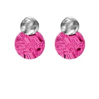 BIBA EXPERIENCE Biba Round Ear Studs with Resin Circle Pink