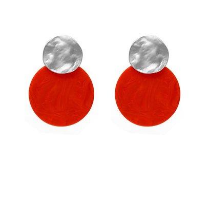 BIBA EXPERIENCE Biba ronde oorstekers  Zilverkleurig met Resin platte ronde 35mm ORANJE Cirkel