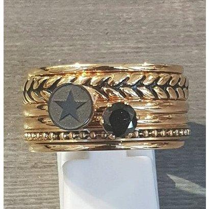 IXXXI JEWELRY RINGEN iXXXi COMBINATIE RING 12mm GOUDKLEURIG 1054 BLACK STAR LEAF