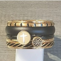 IXXXI JEWELRY RINGEN iXXXi COMBINATION RING 14mm GOLD COLORED 1056 CROSS GOLD